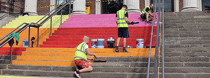 College steps painted